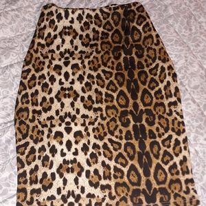 Skirts - High waist retro rockabilly leopard bodycon skirt